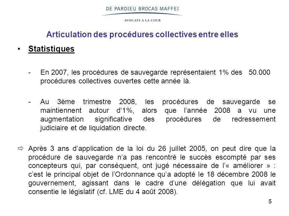 5 Articulation des procédures collectives entre elles Statistiques -En 2007, les procédures de sauvegarde représentaient 1% des 50.000 procédures coll