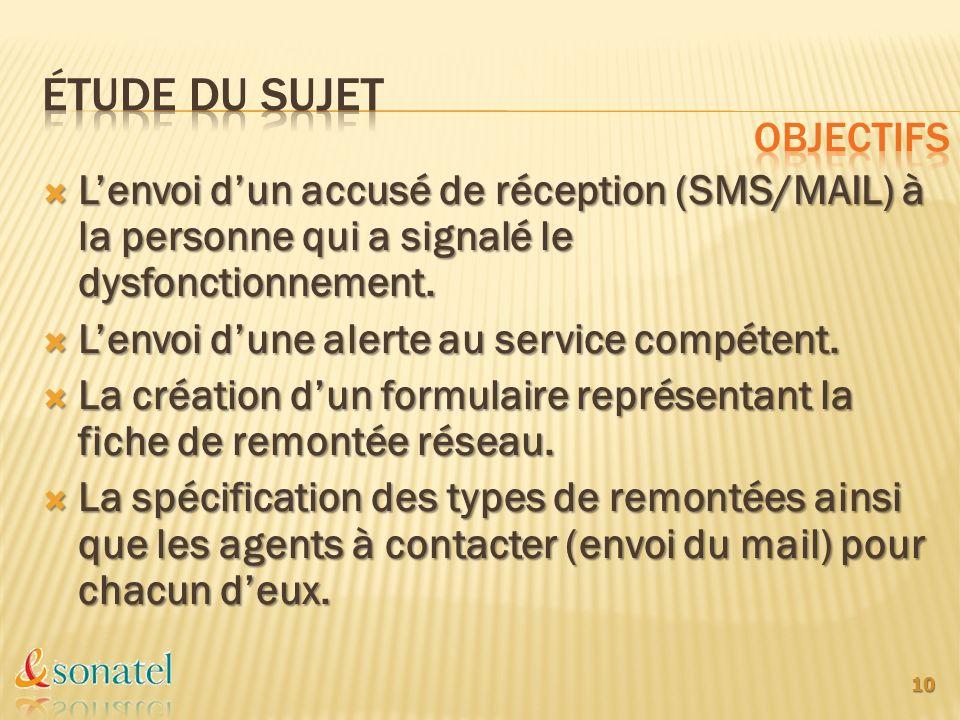 Lenvoi dun accusé de réception (SMS/MAIL) à la personne qui a signalé le dysfonctionnement. Lenvoi dun accusé de réception (SMS/MAIL) à la personne qu
