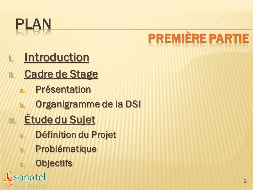 I. Introduction II. Cadre de Stage a. Présentation b. Organigramme de la DSI III. Étude du Sujet a. Définition du Projet b. Problématique c. Objectifs