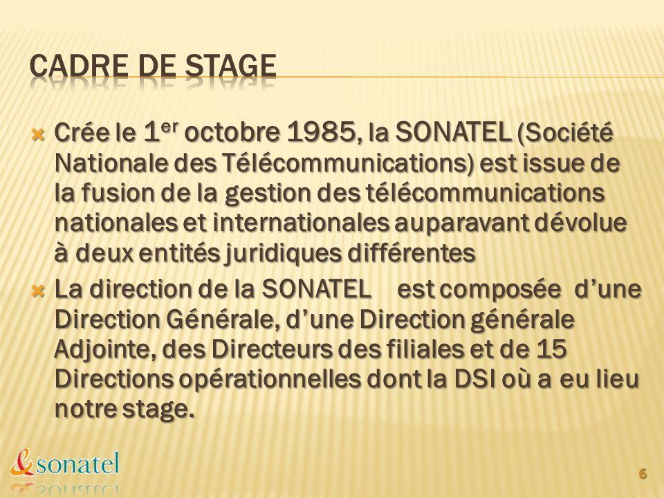 Crée le 1 er octobre 1985, la SONATEL (Société Nationale des Télécommunications) est issue de la fusion de la gestion des télécommunications nationale