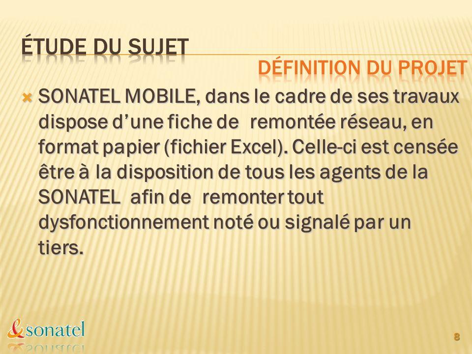 SONATEL MOBILE, dans le cadre de ses travaux dispose dune fiche de remontée réseau, en format papier (fichier Excel). Celle-ci est censée être à la di