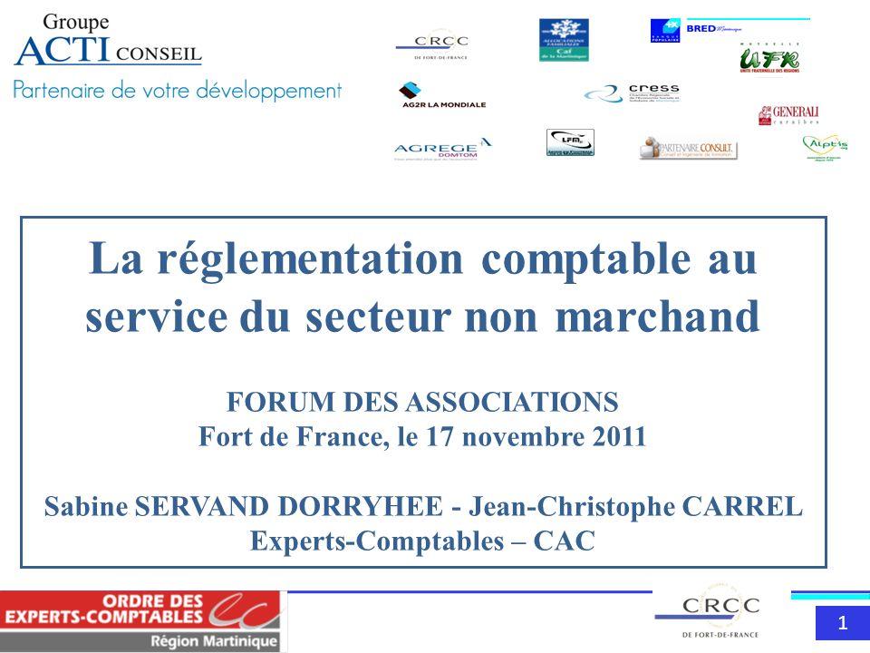 111 La réglementation comptable au service du secteur non marchand FORUM DES ASSOCIATIONS Fort de France, le 17 novembre 2011 Sabine SERVAND DORRYHEE