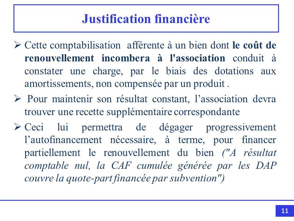 11 Justification financière Cette comptabilisation afférente à un bien dont le coût de renouvellement incombera à l'association conduit à constater un