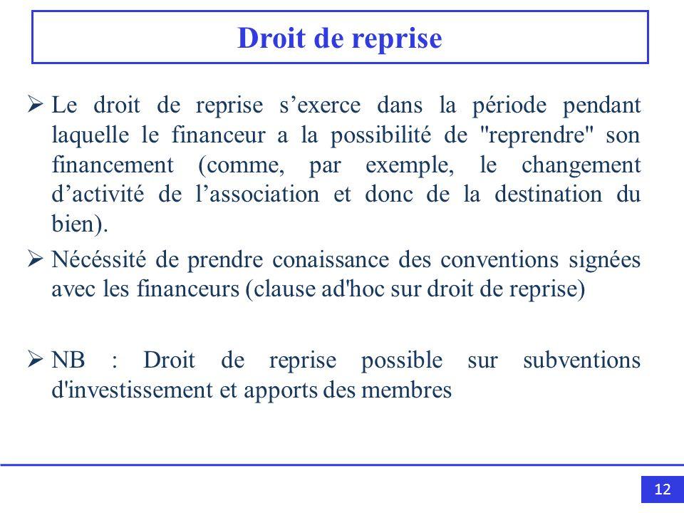 12 Droit de reprise Le droit de reprise sexerce dans la période pendant laquelle le financeur a la possibilité de