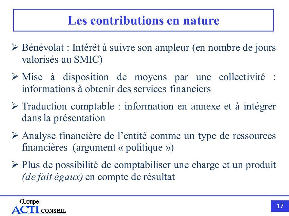 17 Les contributions en nature Bénévolat : Intérêt à suivre son ampleur (en nombre de jours valorisés au SMIC) Mise à disposition de moyens par une co