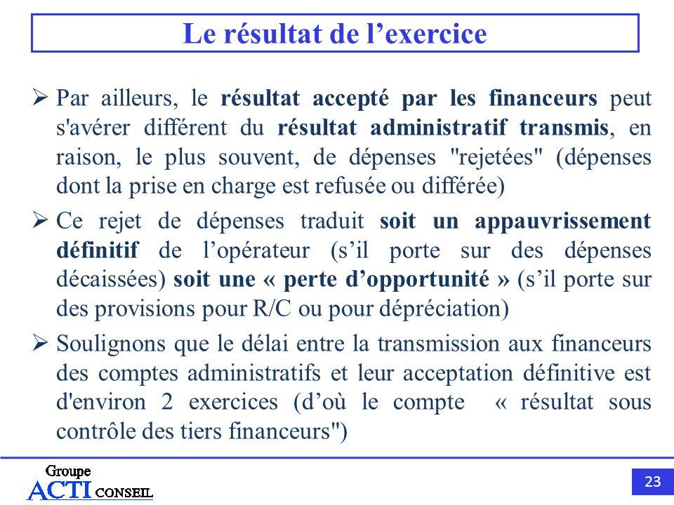 23 Le résultat de lexercice Par ailleurs, le résultat accepté par les financeurs peut s'avérer différent du résultat administratif transmis, en raison