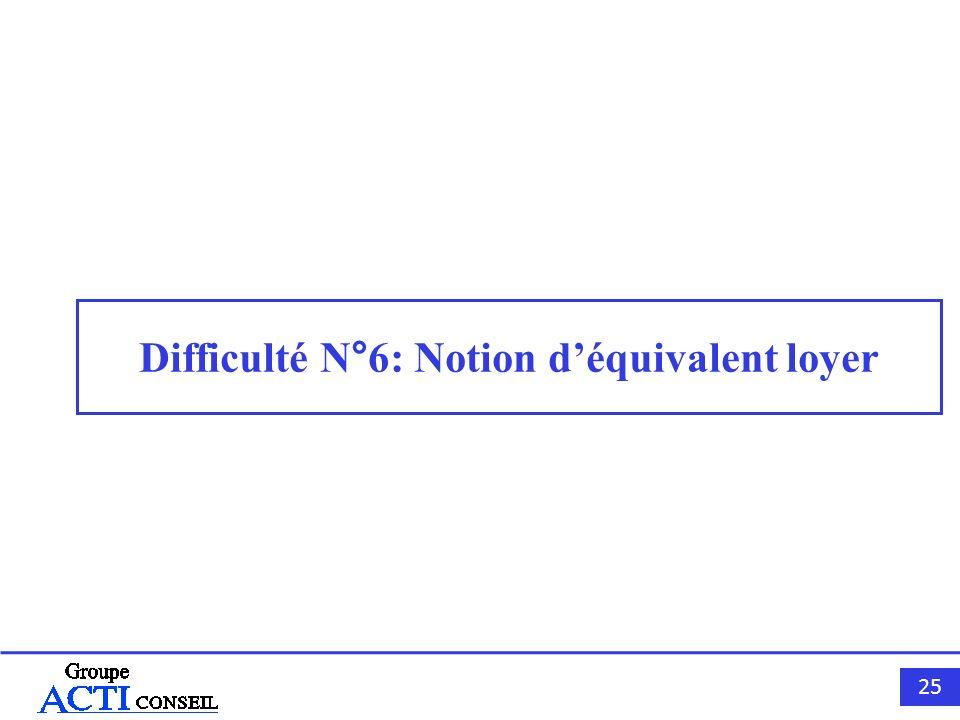 25 Difficulté N°6: Notion déquivalent loyer
