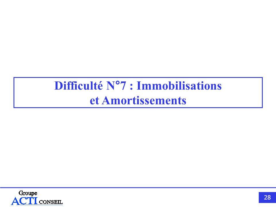 28 Difficulté N°7 : Immobilisations et Amortissements