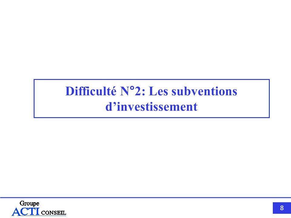 8888 Difficulté N°2: Les subventions dinvestissement