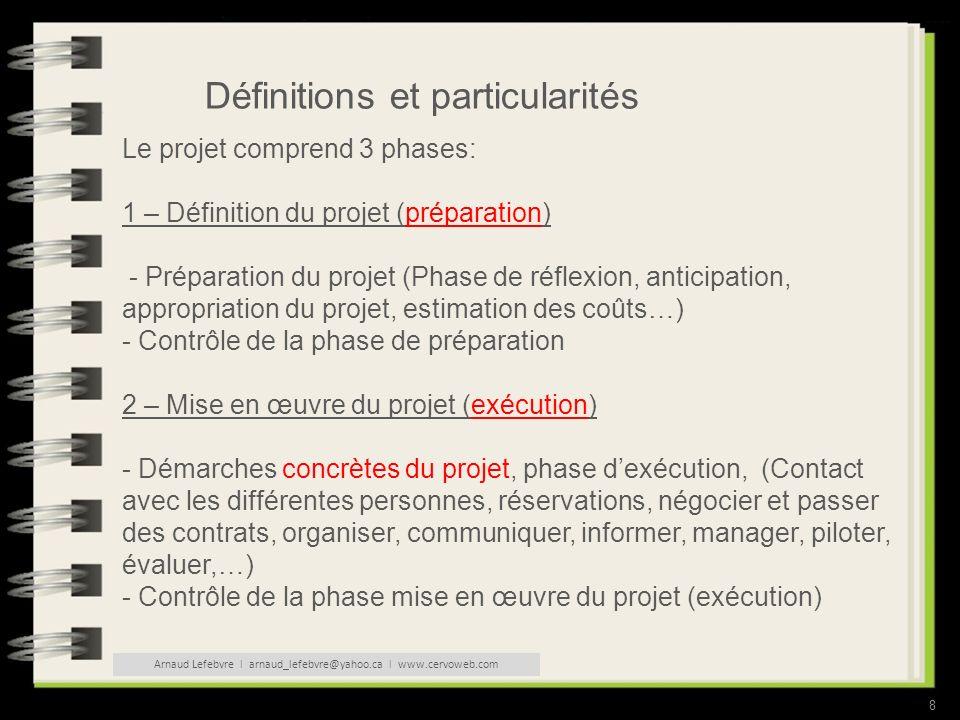 8 Définitions et particularités Le projet comprend 3 phases: 1 – Définition du projet (préparation) - Préparation du projet (Phase de réflexion, anticipation, appropriation du projet, estimation des coûts…) - Contrôle de la phase de préparation 2 – Mise en œuvre du projet (exécution) - Démarches concrètes du projet, phase dexécution, (Contact avec les différentes personnes, réservations, négocier et passer des contrats, organiser, communiquer, informer, manager, piloter, évaluer,…) - Contrôle de la phase mise en œuvre du projet (exécution) Arnaud Lefebvre l arnaud_lefebvre@yahoo.ca l www.cervoweb.com