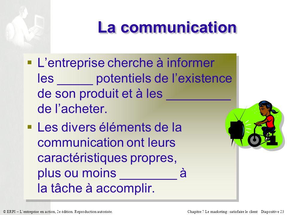 Chapitre 7 Le marketing : satisfaire le client Diapositive 23 © ERPI – Lentreprise en action, 2e édition.