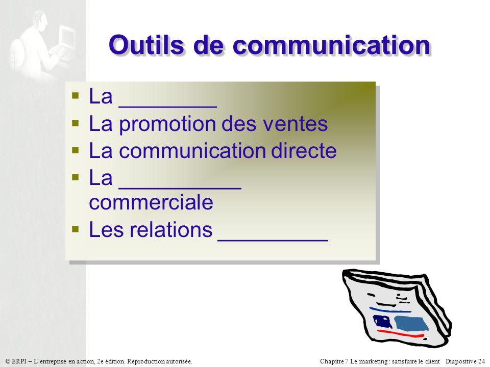 Chapitre 7 Le marketing : satisfaire le client Diapositive 24 © ERPI – Lentreprise en action, 2e édition.