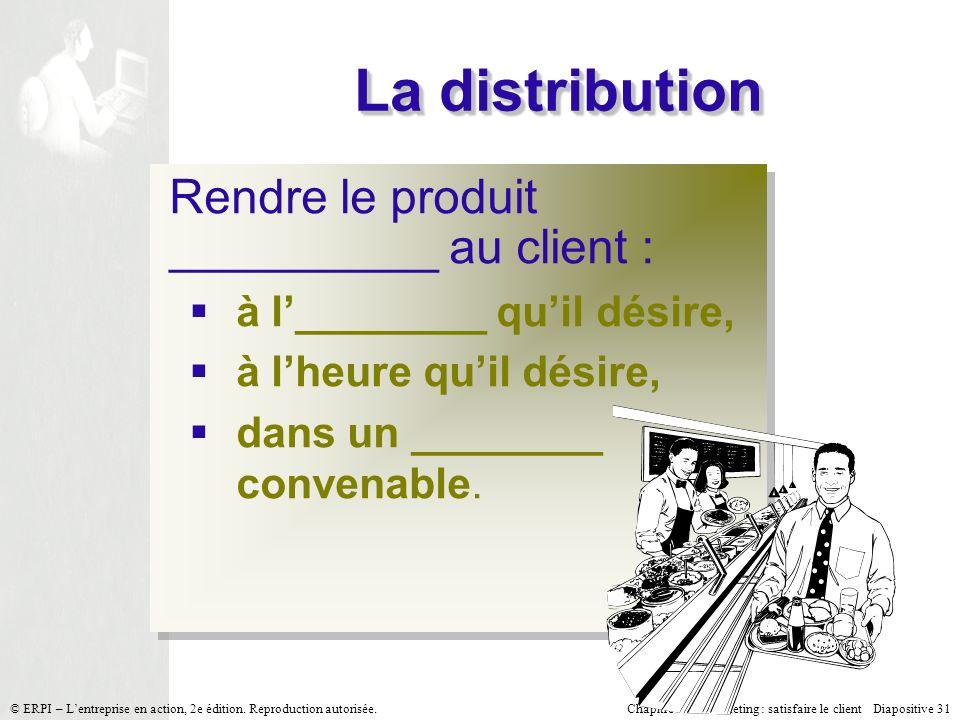 Chapitre 7 Le marketing : satisfaire le client Diapositive 31 © ERPI – Lentreprise en action, 2e édition.
