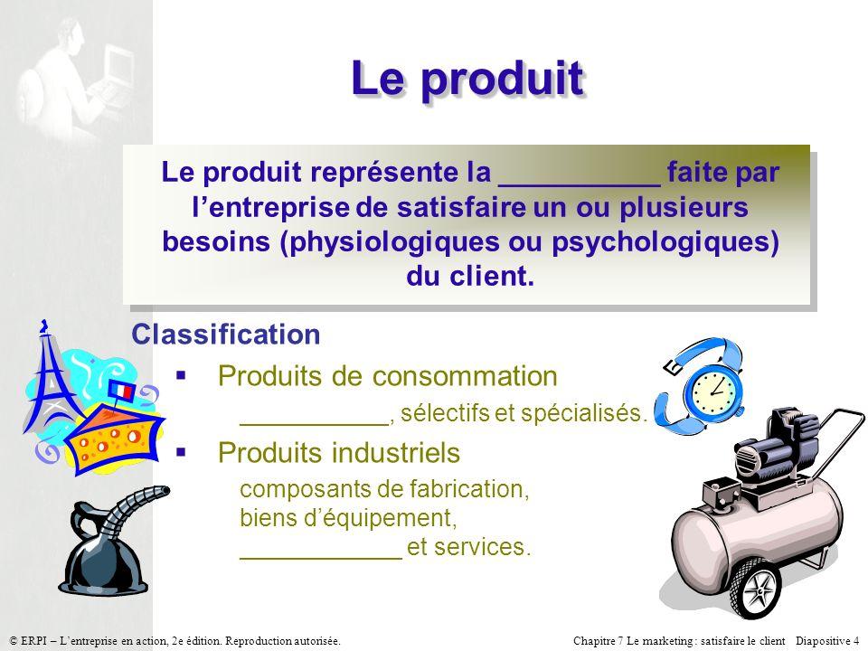 Chapitre 7 Le marketing : satisfaire le client Diapositive 4 © ERPI – Lentreprise en action, 2e édition.