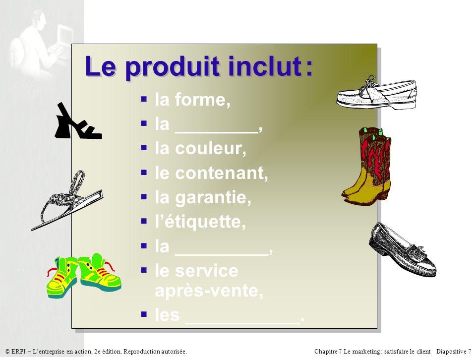 Chapitre 7 Le marketing : satisfaire le client Diapositive 7 © ERPI – Lentreprise en action, 2e édition.