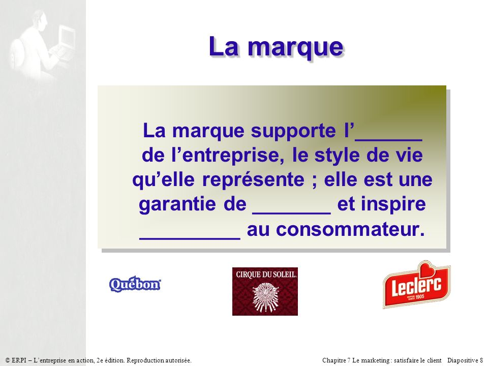 Chapitre 7 Le marketing : satisfaire le client Diapositive 8 © ERPI – Lentreprise en action, 2e édition.