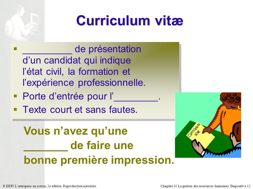 Chapitre 10 La gestion des ressources humaines Diapositive 12© ERPI Lentreprise en action, 2e édition. Reproduction autorisée. Curriculum vitæ _______