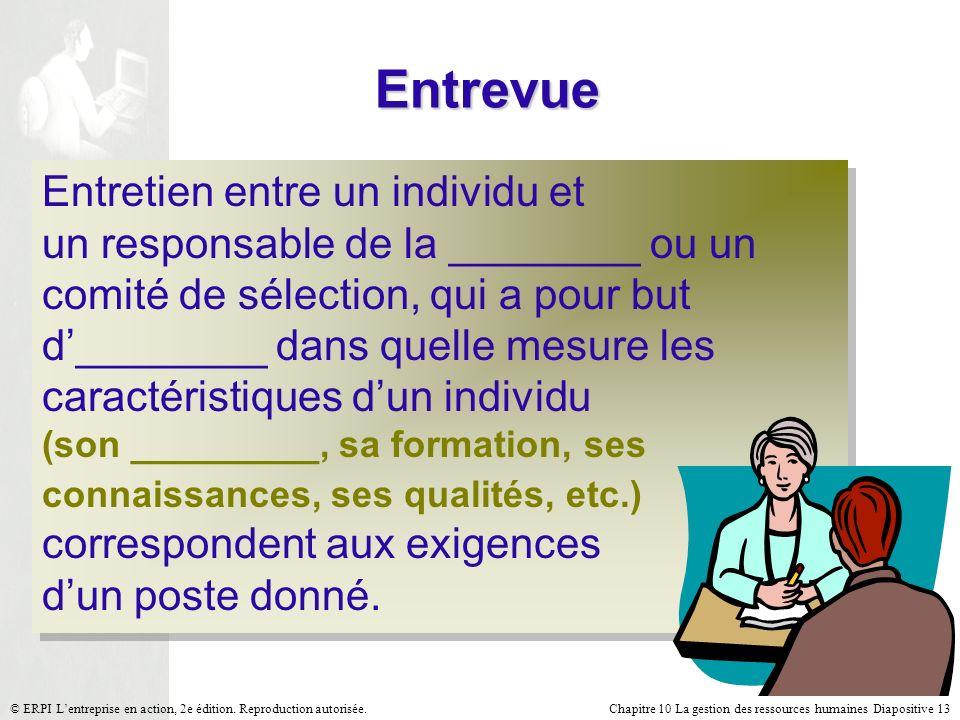 Chapitre 10 La gestion des ressources humaines Diapositive 13© ERPI Lentreprise en action, 2e édition. Reproduction autorisée. Entrevue Entretien entr