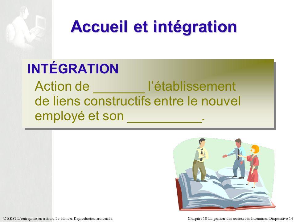Chapitre 10 La gestion des ressources humaines Diapositive 14© ERPI Lentreprise en action, 2e édition. Reproduction autorisée. Accueil et intégration