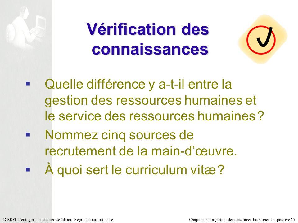 Chapitre 10 La gestion des ressources humaines Diapositive 15© ERPI Lentreprise en action, 2e édition. Reproduction autorisée. Vérification des connai