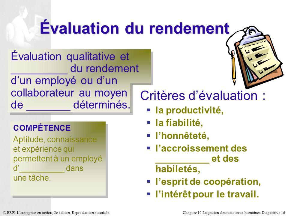Chapitre 10 La gestion des ressources humaines Diapositive 16© ERPI Lentreprise en action, 2e édition. Reproduction autorisée. Évaluation du rendement
