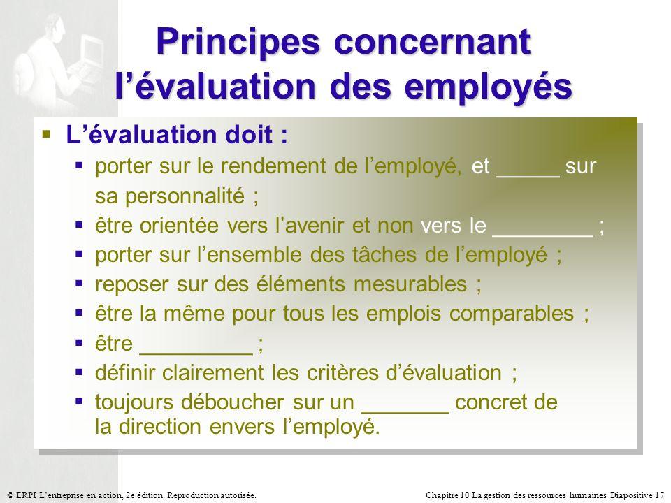 Chapitre 10 La gestion des ressources humaines Diapositive 17© ERPI Lentreprise en action, 2e édition. Reproduction autorisée. Principes concernant lé