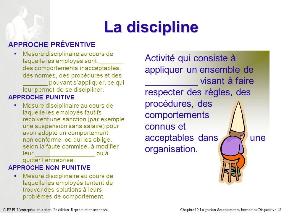 Chapitre 10 La gestion des ressources humaines Diapositive 18© ERPI Lentreprise en action, 2e édition. Reproduction autorisée. La discipline Activité