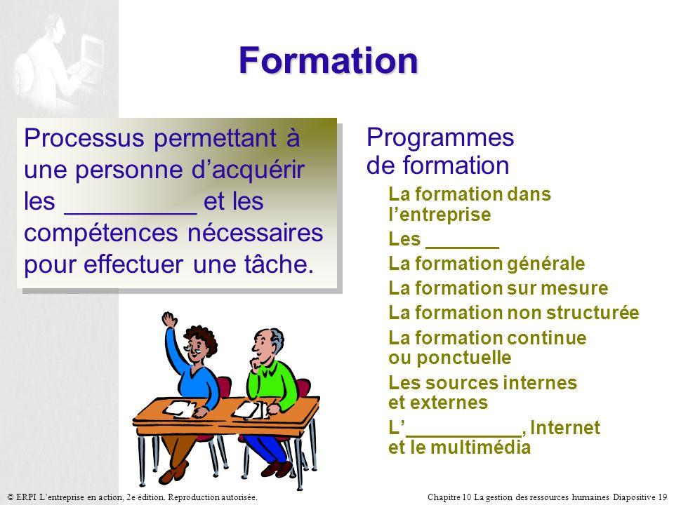 Chapitre 10 La gestion des ressources humaines Diapositive 19© ERPI Lentreprise en action, 2e édition. Reproduction autorisée. Formation Processus per