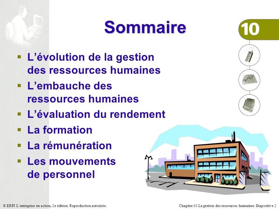 Chapitre 10 La gestion des ressources humaines Diapositive 2© ERPI Lentreprise en action, 2e édition. Reproduction autorisée. Sommaire Lévolution de l