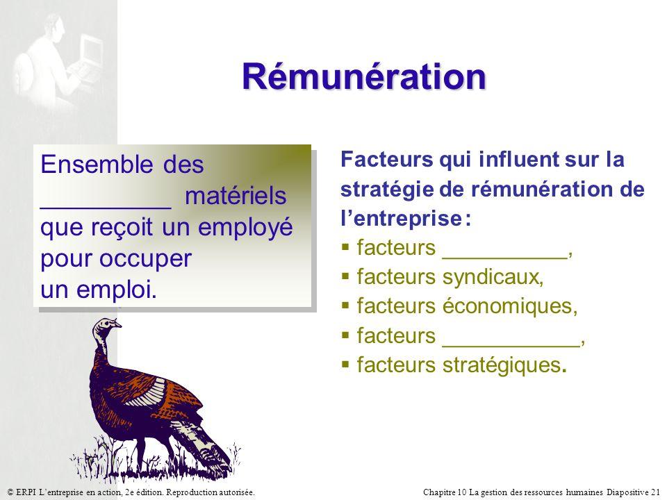 Chapitre 10 La gestion des ressources humaines Diapositive 21© ERPI Lentreprise en action, 2e édition. Reproduction autorisée. Rémunération Ensemble d