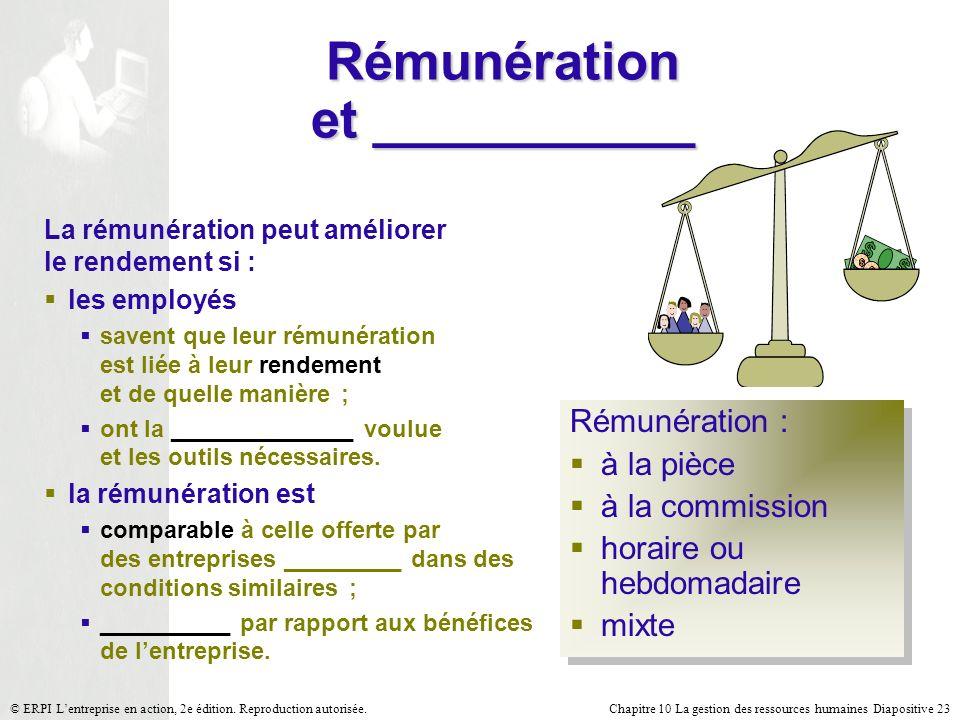 Chapitre 10 La gestion des ressources humaines Diapositive 23© ERPI Lentreprise en action, 2e édition. Reproduction autorisée. Rémunération et _______