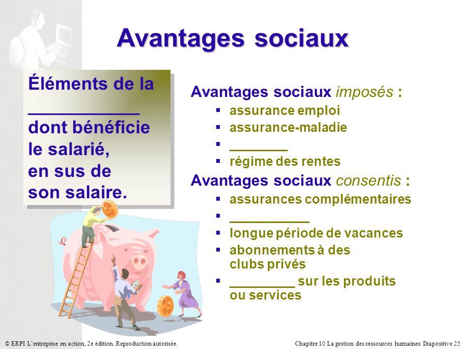 Chapitre 10 La gestion des ressources humaines Diapositive 25© ERPI Lentreprise en action, 2e édition.