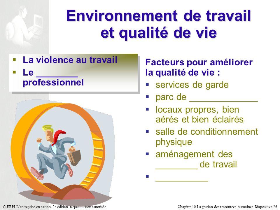 Chapitre 10 La gestion des ressources humaines Diapositive 26© ERPI Lentreprise en action, 2e édition. Reproduction autorisée. Environnement de travai