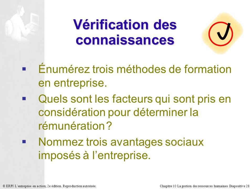 Chapitre 10 La gestion des ressources humaines Diapositive 28© ERPI Lentreprise en action, 2e édition. Reproduction autorisée. Vérification des connai