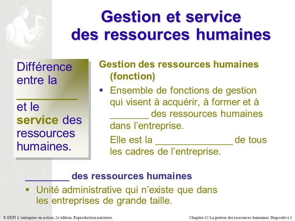 Chapitre 10 La gestion des ressources humaines Diapositive 3© ERPI Lentreprise en action, 2e édition. Reproduction autorisée. Gestion et service des r