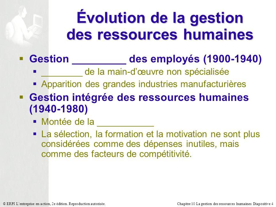 Chapitre 10 La gestion des ressources humaines Diapositive 4© ERPI Lentreprise en action, 2e édition. Reproduction autorisée. Évolution de la gestion
