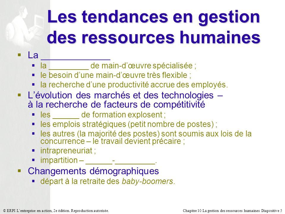 Chapitre 10 La gestion des ressources humaines Diapositive 5© ERPI Lentreprise en action, 2e édition. Reproduction autorisée. Les tendances en gestion