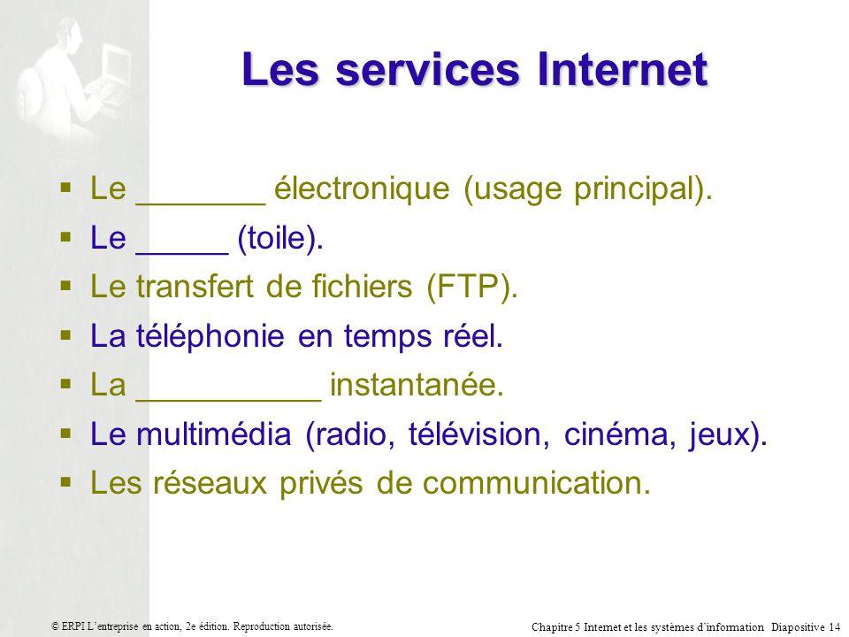 Chapitre 5 Internet et les systèmes dinformation Diapositive 14 © ERPI Lentreprise en action, 2e édition.