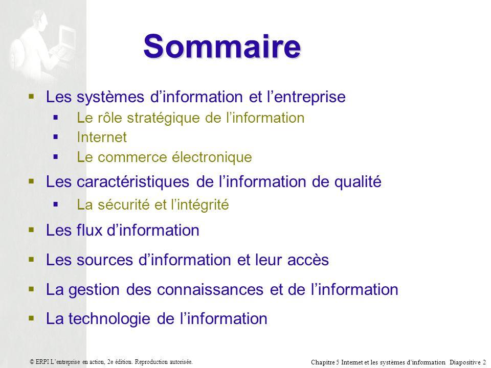 Chapitre 5 Internet et les systèmes dinformation Diapositive 33 © ERPI Lentreprise en action, 2e édition.
