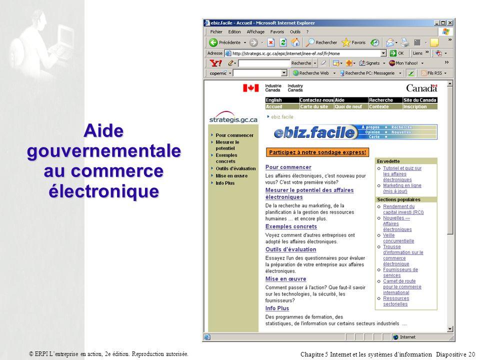 Chapitre 5 Internet et les systèmes dinformation Diapositive 20 © ERPI Lentreprise en action, 2e édition.