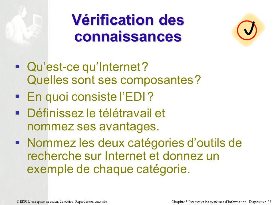 Chapitre 5 Internet et les systèmes dinformation Diapositive 23 © ERPI Lentreprise en action, 2e édition.