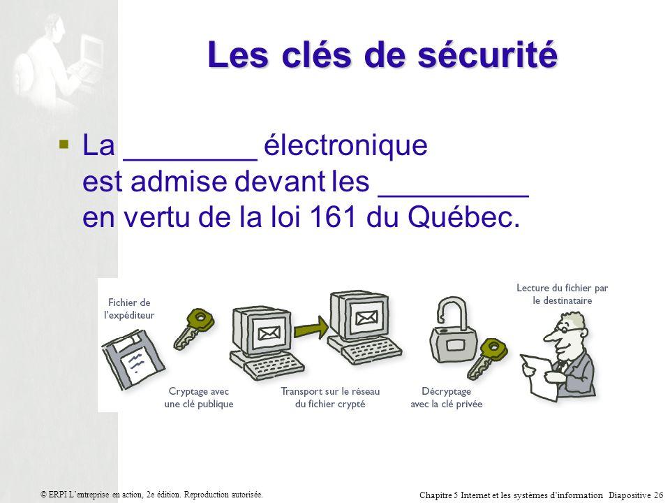 Chapitre 5 Internet et les systèmes dinformation Diapositive 26 © ERPI Lentreprise en action, 2e édition.