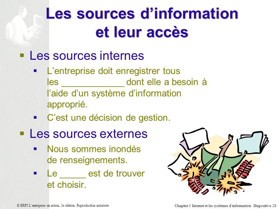 Chapitre 5 Internet et les systèmes dinformation Diapositive 28 © ERPI Lentreprise en action, 2e édition.