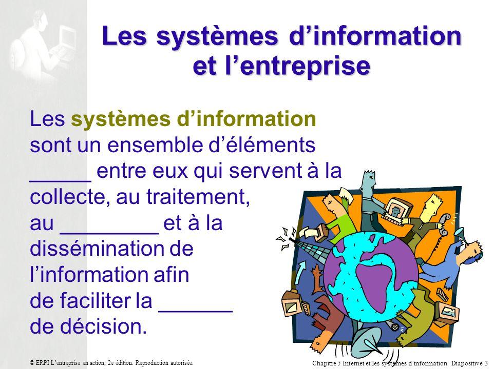 Chapitre 5 Internet et les systèmes dinformation Diapositive 4 © ERPI Lentreprise en action, 2e édition.