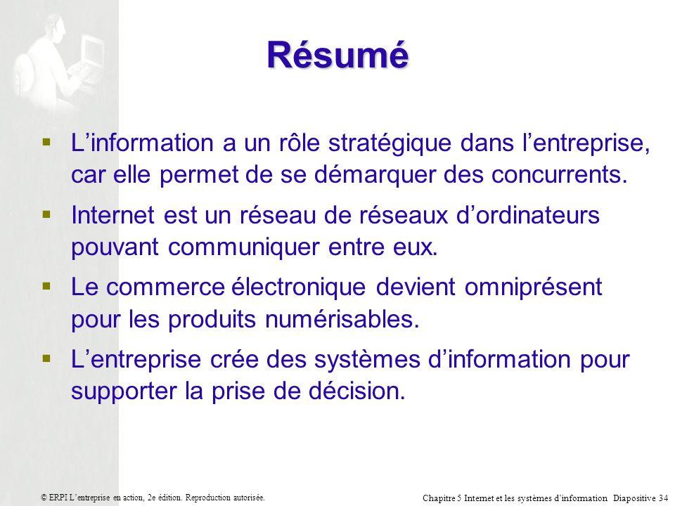 Chapitre 5 Internet et les systèmes dinformation Diapositive 34 © ERPI Lentreprise en action, 2e édition.