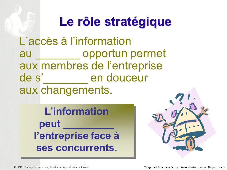 Chapitre 5 Internet et les systèmes dinformation Diapositive 5 © ERPI Lentreprise en action, 2e édition.