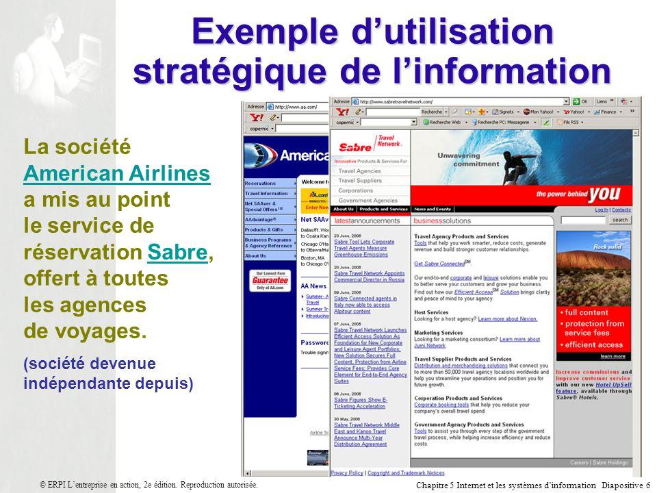 Chapitre 5 Internet et les systèmes dinformation Diapositive 7 © ERPI Lentreprise en action, 2e édition.