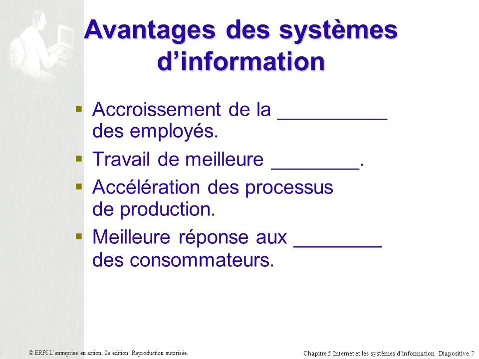 Chapitre 5 Internet et les systèmes dinformation Diapositive 18 © ERPI Lentreprise en action, 2e édition.