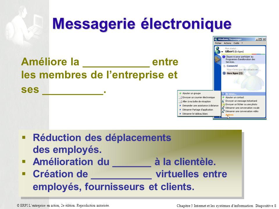 Chapitre 5 Internet et les systèmes dinformation Diapositive 9 © ERPI Lentreprise en action, 2e édition.