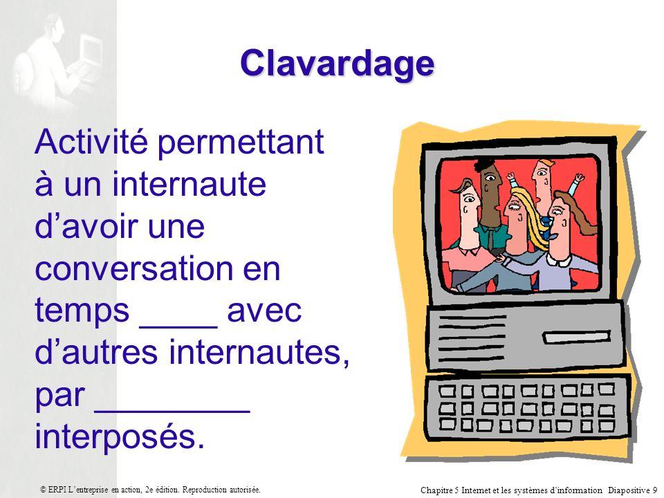 Chapitre 5 Internet et les systèmes dinformation Diapositive 30 © ERPI Lentreprise en action, 2e édition.
